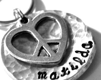 Peace and Love domed Pet ID Tag...(New Font)