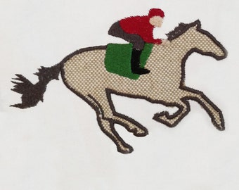 Galloping horse with jockey machine appliqué design in three sizes for your equestrian!
