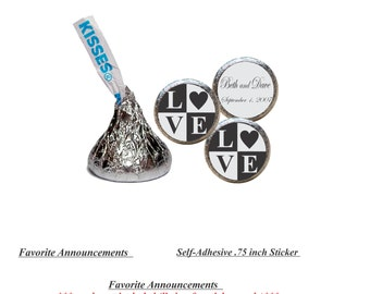 Love Blocks, Wedding, Kiss Stickers, Black Tie Party Favors, Wedding Favors, Candy Kiss Stickers, Wedding Kisses (Set of 108) (RLoveBlocks)