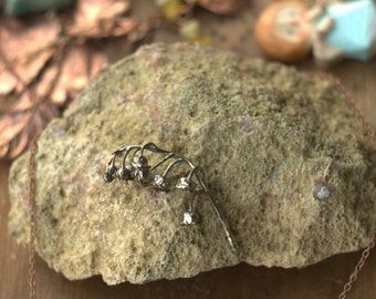 Silver may-lily pendant, real flower copper electroformed, lily of the valley, electroforming, electroplated necklace, fairy jewelry, elven