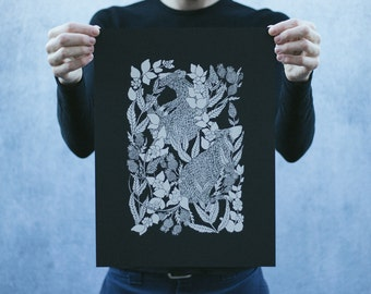 Rat and Thistle Open Edition Black and White Screen Printed Poster