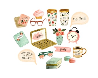 planner clipart, sticker clipart, reading clipart, schedule clipart, coffee clipart, books clipart, computer clipart, office clipart
