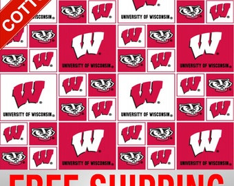 "University Wisconsin Cotton Fabric Badgers NCAA WIS-020 45"" Wide Free Shipping"