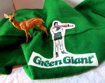 Vintage Faribo Woolen Mills Green Giant Wool Blanket in Excellent condition, Approx. 4 ft. By 4 1/2 ft, Advertising Premium, Stadium Blanket