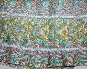 "Pleated Fabric Piece 1950s Cotton Paisley Unused 36"" x 22"""