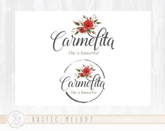 Floral Logo Design Photography Logo Wedding Logo Stamp Logo Watercolor Logo Boutique Logo Shabby Chic Logo