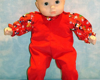 15 Inch Doll Clothes - Joy Snowmen Red Overalls and Blouse Girls handmade by Jane Ellen for 15 inch baby dolls