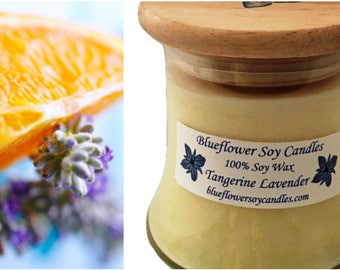 Soy Scented Candle Tangerine Lavender HandPoured 12 oz Jar With Wood Lid