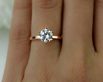1.5 ct Engagement Ring, Promise Ring, 6 Prong Solitaire Ring, Round Man Made Diamond Simulant, Sterling Silver, Rose Gold Plated, Final Sale