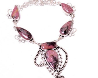 Rhodonite Gemstone Silver Necklace 17""