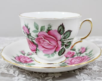 Vintage Royal Vale Pink Rose Floral English Bone China Teacup and Saucer Wedding Tea Party