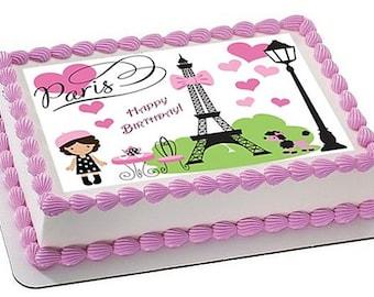 Paris cake topper, Paris edible cake topper, Paris edible cupcake topper, Paris party, Paris cake sprinkles, Eiffel tower cake topper