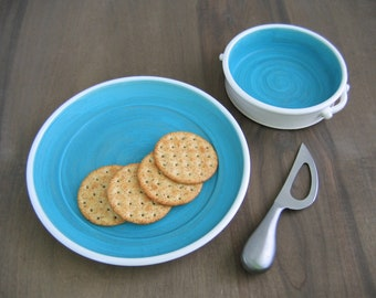 Brie Baker and Plate, Pottery Wedding Gift, 2 Piece Serving Set, Ceramic Anniversary Gift, Stoneware Chef Gourmet Appetizer, Cheese Lover
