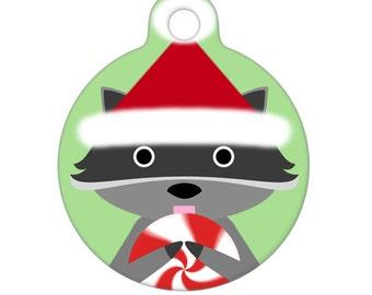 Pet ID Tag - Christmas Santa Raccoon - Pet Tag - Dog Tag - Cat Tag - Luggage Tag - Child Id Tag