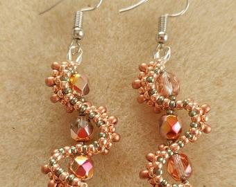 Copper and metallic green whirlygig earrings
