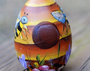 Hand Painted Bee Hive Egg, Hand Painted Wooden Egg, Bee Egg, Bee Hive Egg, Bee Hive, Bee