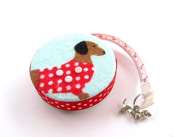 Tape Measure Red Flannel Dachshunds Retractable Measuring Tape