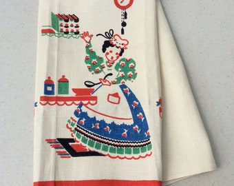 Vintage Broderie Towel Pretty Cook in the Kitchen Grandmas Kitchen Retro Tea Towels