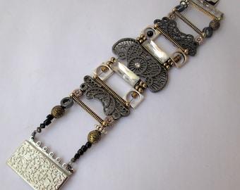 Jackie-O, cuff bracelet,antique bronze, rhinestones, silver, layered,  geometric, handmade, contemporary,textured, ,sculptural,