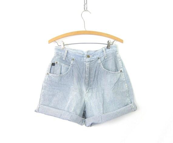 80s Cotton Shorts Blue & White Striped Shorts 1980s High Waist Shorts Hipster Roll Up Pinstriped Shorts Womens Size 11 Medium 29 inch waist