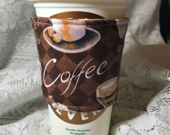 Coffee cozy, coffee cup holder, coffee fabric cozy, coffee cup cozy, coffee sleeve