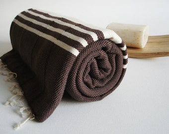 SALE 70 OFF/ BathStyle / No4 Brown / Turkish Beach Bath Towel Peshtemal / Wedding Gift, Spa, Swim, Pool Towels and Pareo
