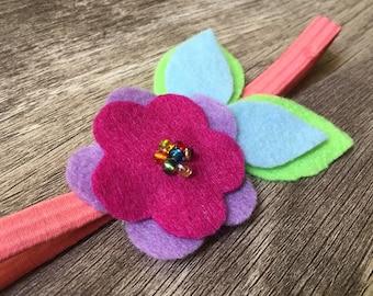 Floral Headband Spring Flower Felt Stretch Headband