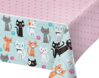 Pretty Kitty Birthday Party Tabelcover/ Cat Birthday Party Tablecover/ Kitty Party Tablecover/ Cat Party