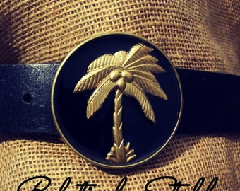 Wellington palm tree belt buckle, equestrian belt, preppy belt, palm tree belt buckle interchangeable with all snap belts!