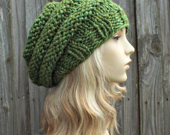Womens Hat Slouchy Beanie - Oversized Beehive Beret - Mixed Green Knit Hat - Spearmint Green Beret Green Beanie Green Hat
