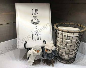 Rae Dunn Inspired Embroidered Flour Sack Towel, Bird Nest, Large Letter 'Our Nest Is Best'