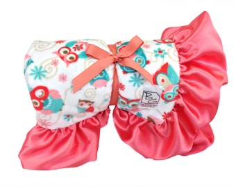 Hooty Stroller Blanket Coral/Aqua/Tiffany