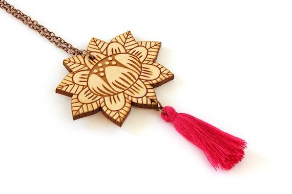 Wooden flower necklace - fuchsia tassel - lasercut wood pendant - stylized floral - vegetal jewelry - folk jewellery - wood accessory