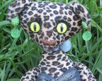 OOAK art doll leopard cat figure, Lady Caterina Spotswood