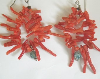 Sardinian Coral Earrings Sardinian Branch Vintage Antique