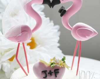 Custom wedding cake topper - Elegant flamingo couple