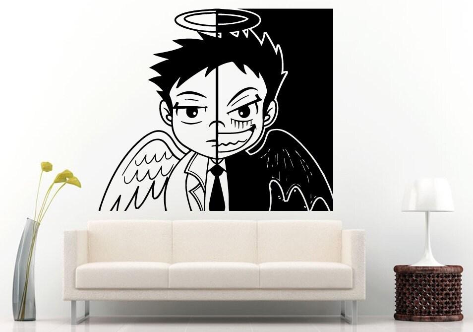 Boy Anime Sad Angel vs Happy Demon Wall Decal Vinyl Sticker
