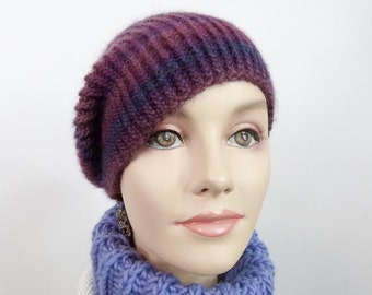 Hand Knit Slouchy Hat - Striped Hat in Wine with Blue Size Sm/Med - Item 1256