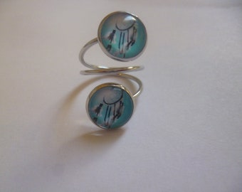 ring metal silver double cabochon