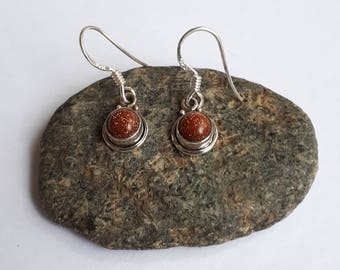 Small sunstone earrings; 92.5 sterling silver