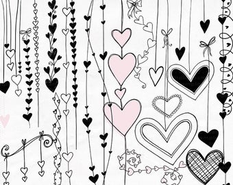 Heart Clip Art, Valentine Digital Stamps, Heart Strings Border ClipArt, PNG Doodles, Love Design Embellishment, Wedding Graphics