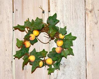 Fruit Wreath // 6 Inch Grapevine Wreath // Little Wreath // Peach Fruit Wreath // Peach Grapevine Wreath // Mini Peaches Wreath //