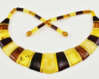 Multi Color Natural Genuine Baltic Amber Necklace Choker- CLEOPATRA