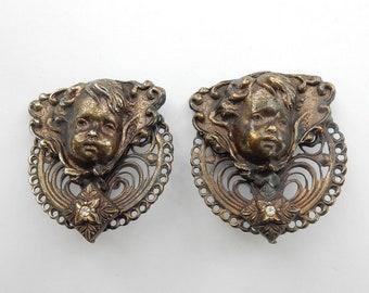 Vintage Cherub Clip on Earrings