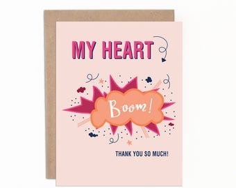 Thank You Card, My Heart BOOM, Thank You So Much, Hand Drawn Card, Baby Shower Thank You, Wedding Thank You, Everyday Thank You Card