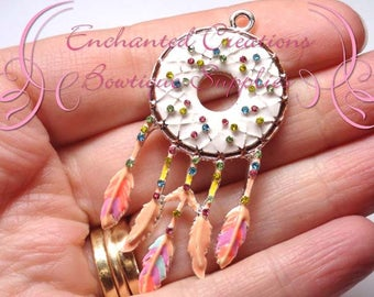"2"" Dream Catcher Charm, Multicolor Rhinestone Chunky Jewelry Pendant, Planner Charm, Keychain, Bookmark, Zipper Pull, Purse Charm"