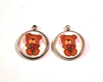 Teddy Bear Charms, Earring Pair, Bear Charms, Bear Beads, Matching Charms, 20mm Charms, Valentines Charms, Valentines Beads