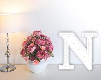 Letter lights N Marquee letter N alphabet lights Marquee letters Nursery light Wooden letters Night light Kids lamp  Baby shower Lamp