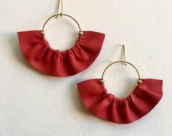 Red Statement earrings in leather, Leather fan earrings,  Fan earrings, Statement hoop earrings, Boho fan earrings