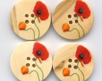 Red Poppy Buttons Decorated Floral Wooden Buttons 24mm (1 inch) Set of 8 /BT40A